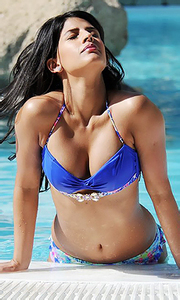 Jasmin Walia by the pool